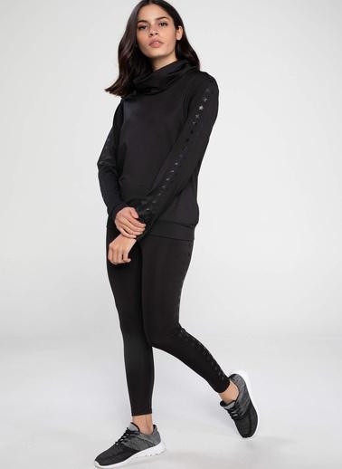 DeFacto Yıldızlı Şerit Detaylı Şal Yaka Sweatshirt Siyah